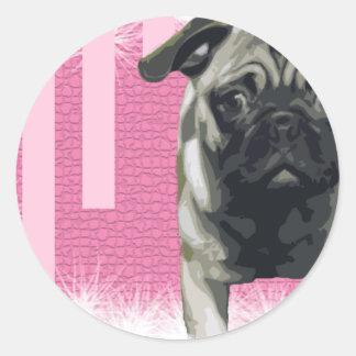Zoe Pug Classic Round Sticker