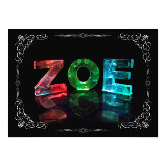 Zoe  - The Name Zoe in Photograph)3D Lights ( Photo Print