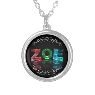 Zoe  - The Name Zoe in Photograph)3D Lights ( Round Pendant Necklace
