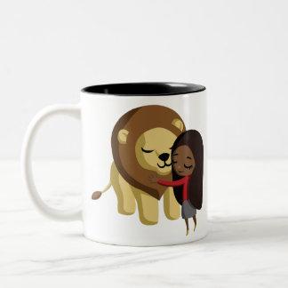 Zoe y cacahuete taza de café de dos colores
