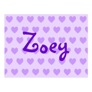 Zoey en púrpura postal