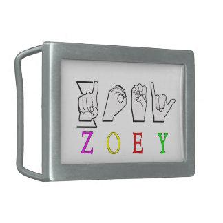 ZOEY FINGERSPELLED ASL SIGN NAME FEMALE RECTANGULAR BELT BUCKLES