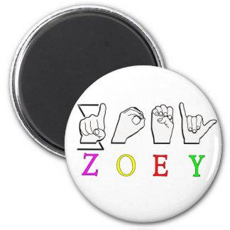 ZOEY FINGERSPELLED ASL SIGN NAME FEMALE MAGNET