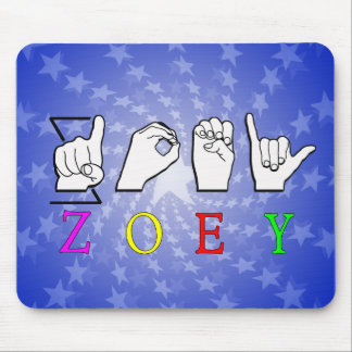 ZOEY FINGERSPELLED ASL SIGN NAME FEMALE MOUSE PAD