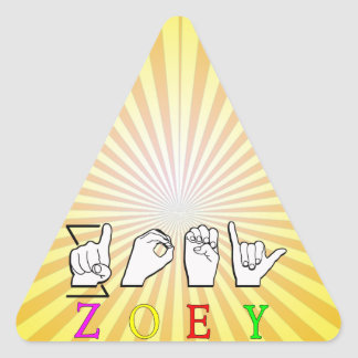 ZOEY FINGERSPELLED ASL SIGN NAME FEMALE TRIANGLE STICKER