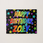 """[ Thumbnail: """"Zoey"""" First Name, Fun """"Happy Birthday"""" Jigsaw Puzzle ]"""