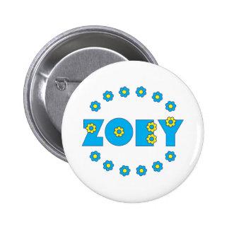 Zoey Flores Blue Pinback Buttons