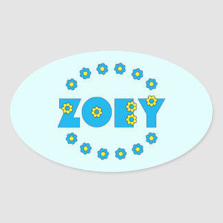 Zoey in Flores Blue Oval Sticker