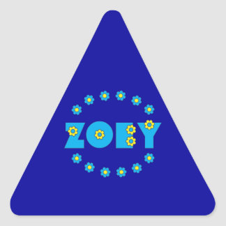 Zoey in Flores Blue Triangle Sticker