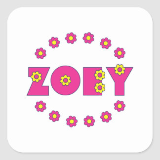 Zoey in Flores Pink Square Sticker