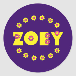 Zoey in Flores Yellow Classic Round Sticker