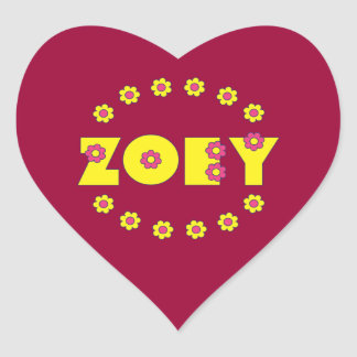 Zoey in Flores Yellow Heart Sticker