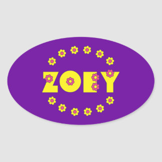 Zoey in Flores Yellow Oval Sticker