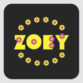 Zoey in Flores Yellow Square Sticker