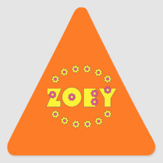 Zoey in Flores Yellow Triangle Sticker