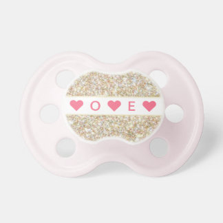 """Zoey"" Personalized Gold Sparkle Print Pacifier"