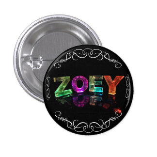 Zoey  - The Name Zoey in 3D Lights (Photograph) Pinback Button