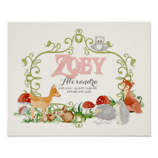 Zoey Top 100 Baby Names Girls Newborn Nursery Poster