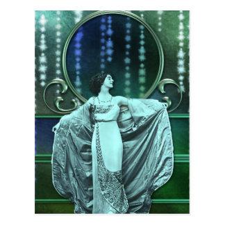 ZOHARA: Art Deco Woman in Aqua and Green Postcard