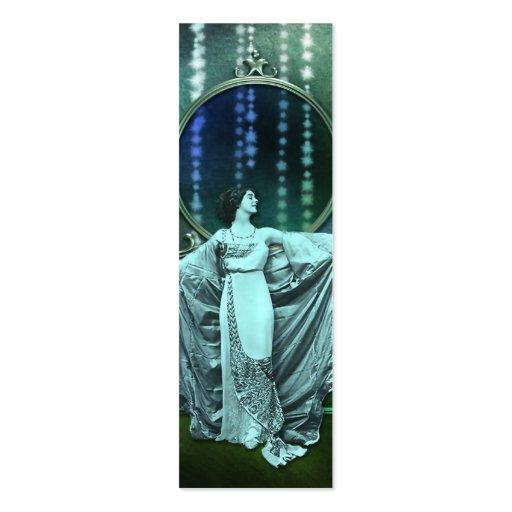 Zohara: Art Deco Woman in Aqua & Green Business Card Templates