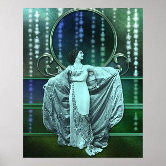 Zohara: Art Deco Woman in Aqua & Green Posters
