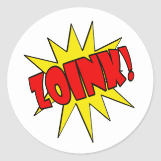 Zoink!  Cartoon SFX Classic Round Sticker