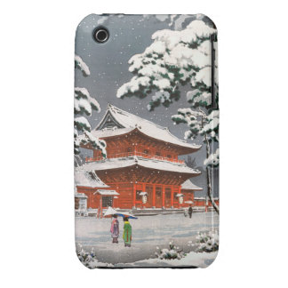 Zojoji Temple in Snow Tsuchiya Koitsu winter scene iPhone 3 Case-Mate Cases