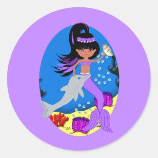 Zola el pegatina púrpura de la sirena y del delfín
