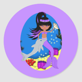 Zola the Purple Mermaid and Dolphin Sticker