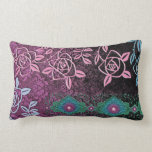 ZOLLIE'S ROSES: PRETTY PLUM and TEAL Throw Pillow
