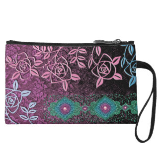 ZOLLIE'S ROSES: PRETTY PLUM and TEAL Wristlet Wallet