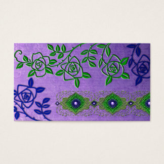 ZOLLIE'S ROSES: ROMANTIC PURPLE and GREEN Business Card