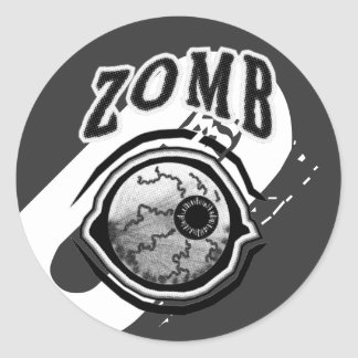 Zomb - Eye - Ball  Black & White Classic Round Sticker