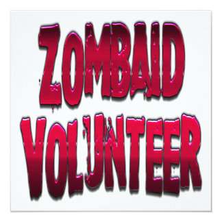 Zombaid Volunteer Red 5.25x5.25 Square Paper Invitation Card