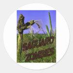 Zombi 2 de los zombis del Saguaro Etiquetas Redondas