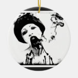 zombi 60s adorno navideño redondo de cerámica