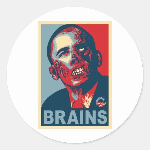 Zombi Barack Obama Pegatina Redonda