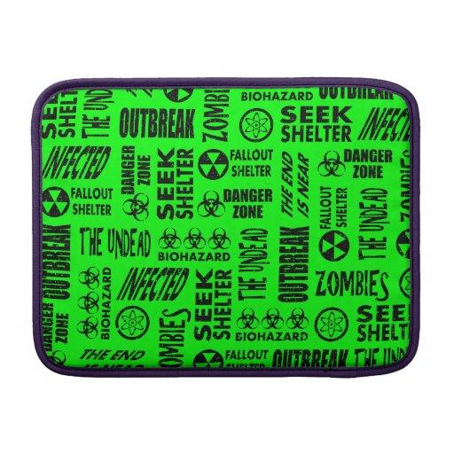 Zombi, brote, negro del Biohazard y verde del neón Funda Macbook Air
