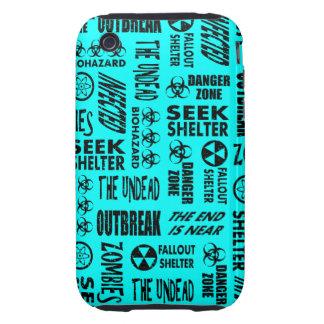 Zombi, brote, Undead, negro del Biohazard y aguama iPhone 3 Tough Cobertura