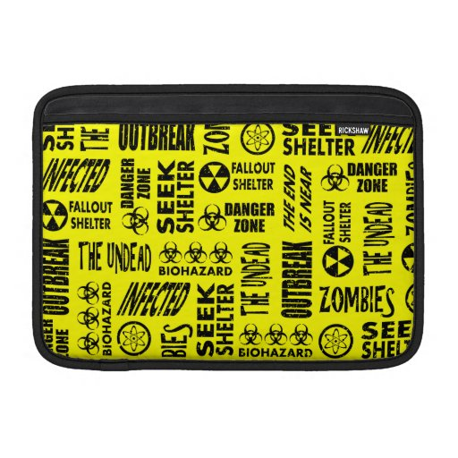 Zombi, brote, Undead, negro del Biohazard y amaril Funda MacBook