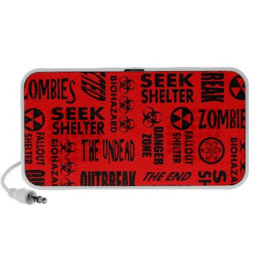 Zombi, brote, Undead, negro del Biohazard y rojo Portátil Altavoces