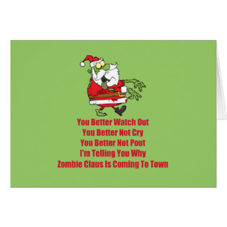 Zombi Claus (verde) Tarjeta De Felicitación