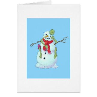 zombi contra el muñeco de nieve tarjeta de felicitación