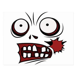 zombi de la cara del dibujo animado del zombi postales