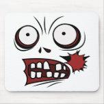 zombi de la cara del dibujo animado del zombi tapete de ratón
