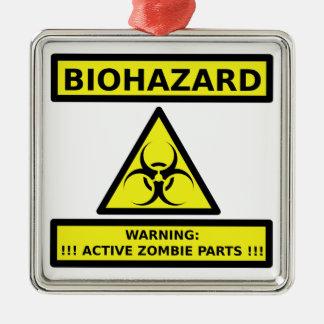 Zombi del Biohazard Adorno Navideño Cuadrado De Metal