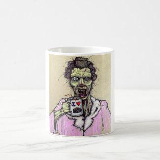 zombi del café de la mañana taza básica blanca
