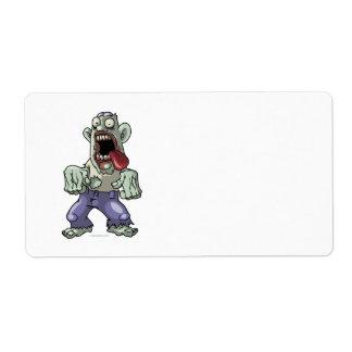 Zombi del dibujo animado etiquetas de envío