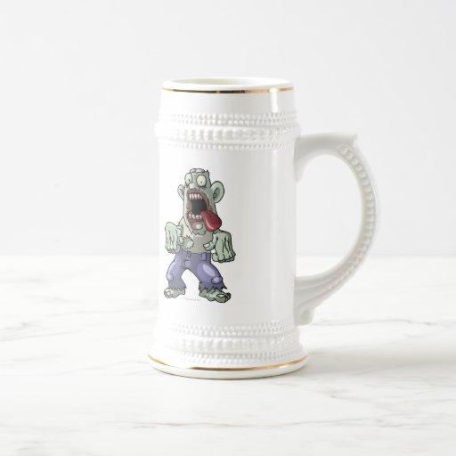 Zombi del dibujo animado jarra de cerveza