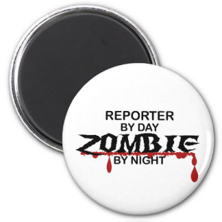 Zombi del reportero imán redondo 5 cm